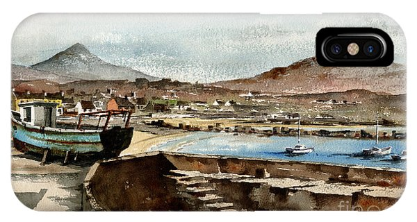 IPhone Case featuring the painting Blue Boat At Greystones Harbour by Val Byrne