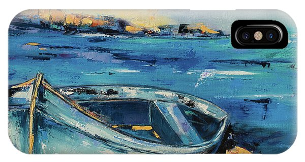 Fauvism iPhone Case - Blue Boat On The Mediterranean Beach by Elise Palmigiani