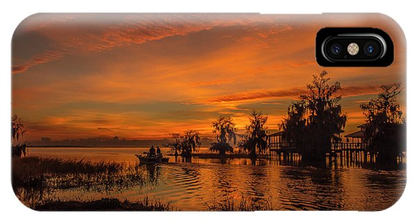 Blue Cypress Sunrise With Boat IPhone Case