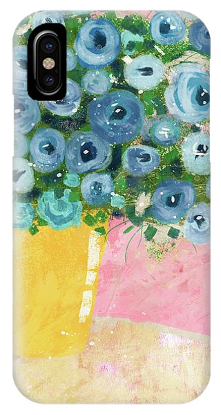 Floral iPhone Case - Blue Flowers In A Yellow Vase- Art By Linda Woods by Linda Woods