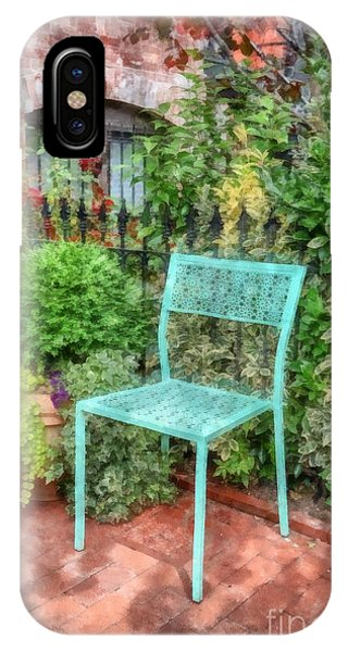 Brownstone iPhone Case - Blue Garden Chair Watercolor by Edward Fielding