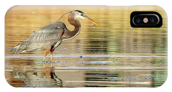 Blue Heron Fishing IPhone Case