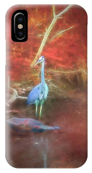Blue Heron Red Background IPhone Case