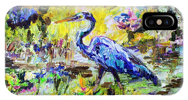 Blue Heron Wetland Magic Palette Knife Oil Painting IPhone Case