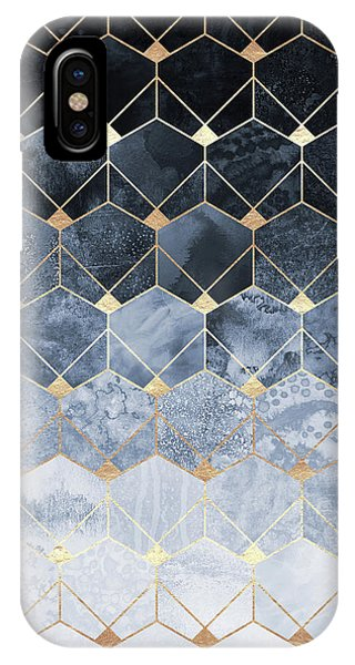 Artwork iPhone Case - Blue Hexagons And Diamonds by Elisabeth Fredriksson