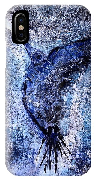 IPhone Case featuring the painting Blue Hummingbird by 'REA' Gallery