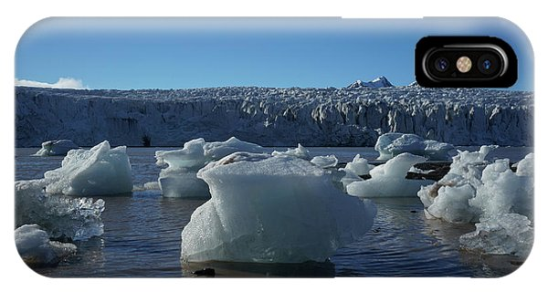 Blue Icebergs Floating Along Storm Arctic Coast Panorama IPhone Case