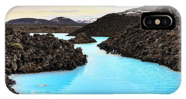 Hot iPhone Case - Blue Lagoon Waters In The Lava Field by Dennis Van De Water