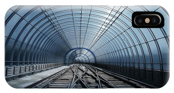 Technology iPhone Case - Blue Metro Tube Tunnel by Valentina Petrov