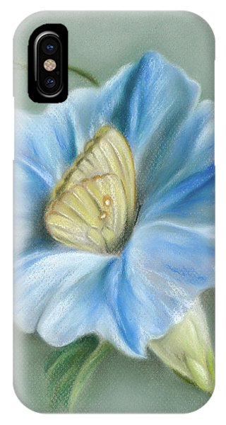Blue Morning Glory With Yellow Butterfly IPhone Case