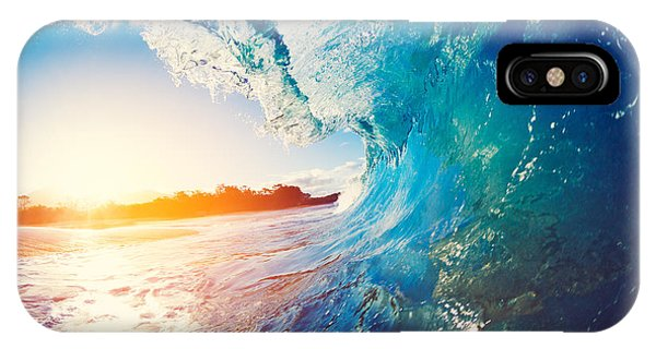Strength iPhone Case - Blue Ocean Wave Crashing At Sunrise by Epicstockmedia