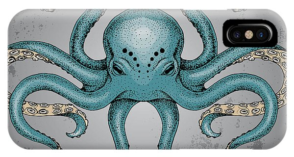 Imagery iPhone Case - Blue Octopus With Grunge Background In by Maria Sem