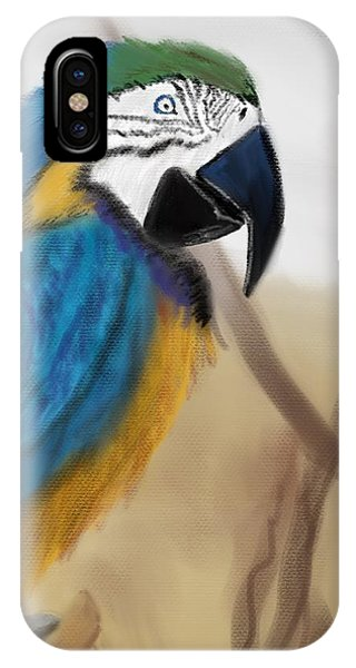 IPhone Case featuring the digital art Blue Parrot by Fe Jones