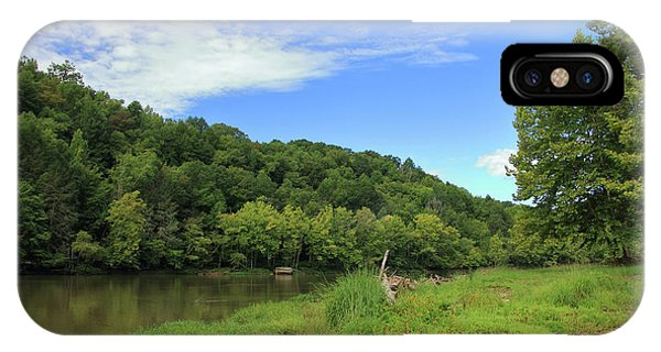 IPhone Case featuring the photograph Blue Sky At Cumberland River by Angela Murdock