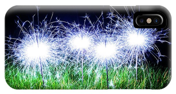 IPhone Case featuring the photograph Blue Sparklers In The Grass by Scott Lyons