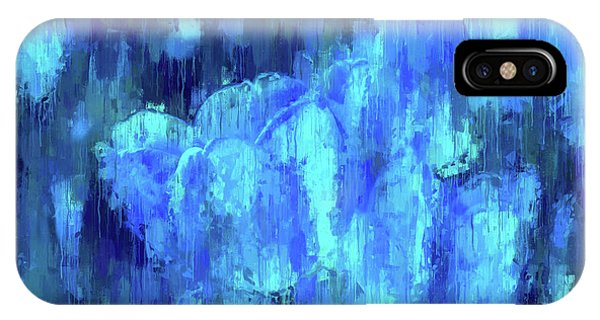 Blue Tulips On A Rainy Day IPhone Case