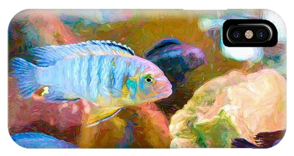 IPhone Case featuring the digital art Blue Zebra Lake Malawi Van Gogh by Don Northup