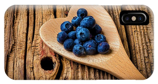 Blue Berry iPhone Case - Blueberries In Heart Shaped Spoon by Garry Gay