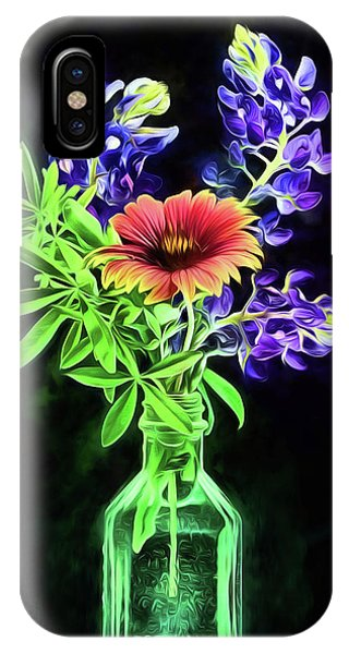 Bluebonnets And Indian Blanket Still Life IPhone Case