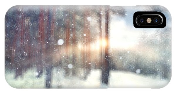 White Mountains iPhone Case - Blurred Background Forest Snow Winter by Kichigin