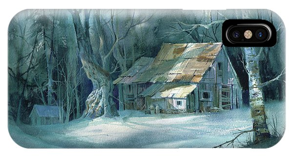 Barn Snow iPhone Case - Boarded Up by Michael Humphries