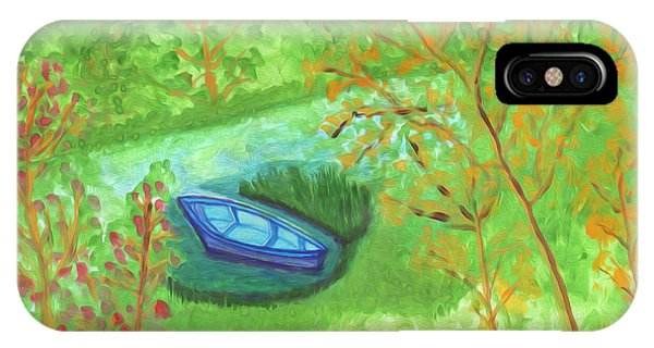 IPhone Case featuring the painting Boat In A Quiet Backwater by Dobrotsvet Art