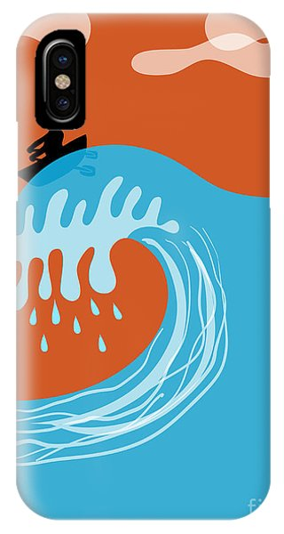 Tidal Waves iPhone Case - Boat On A Tsunami Wave by Complot