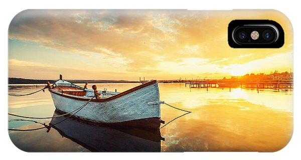 Cloudscape iPhone Case - Boat On Lake With A Reflection In The by Valentin Valkov