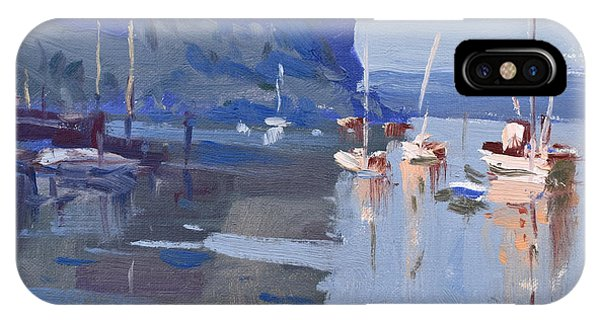 Waterscape iPhone Case - Boats At Hudson River In Rockland County by Ylli Haruni