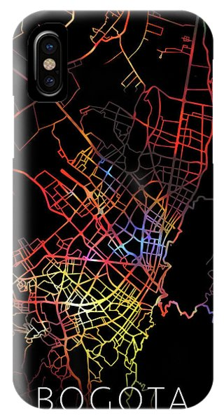 Colombian iPhone Case - Bogota Colombia City Street Map Watercolor Dark Mode by Design Turnpike