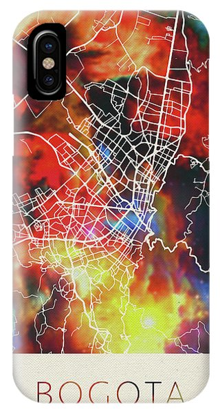 Colombian iPhone Case - Bogota Colombia Watercolor City Street Map by Design Turnpike