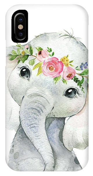 Wall iPhone Case - Boho Elephant by Pink Forest Cafe