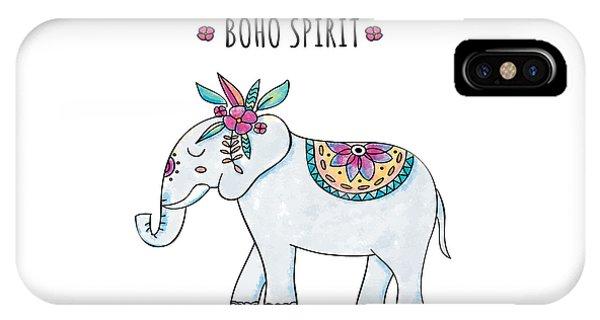 Boho Spirit Elephant - Boho Chic Ethnic Nursery Art Poster Print IPhone Case