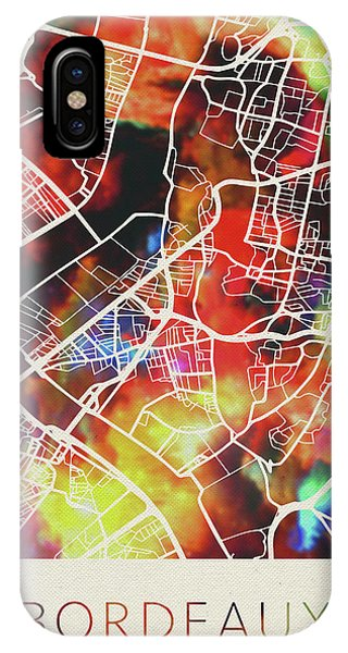 French iPhone Case - Bordeaux France Watercolor City Street Map by Design Turnpike