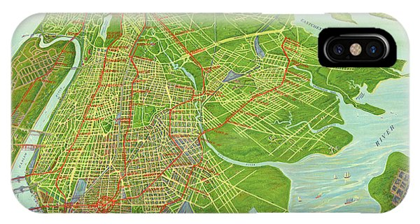 iPhone Case - Borough Of Bronx, Birdview Map 1921 by Zal Latzkovich
