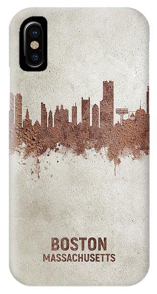 Massachusetts iPhone Case - Boston Massachusetts Rust Skyline by Michael Tompsett