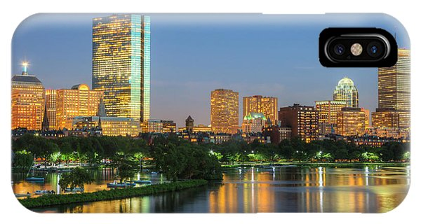 Bean Town iPhone Case - Boston Night Skyline II by Clarence Holmes