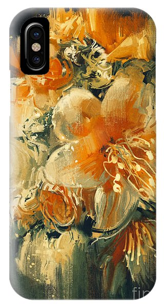Floral Arrangement iPhone Case - Bouquet Flowers In Oil Painting by Tithi Luadthong