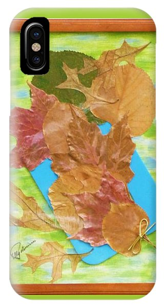 IPhone Case featuring the mixed media Bouquet From Fallen Leaves by Elly Potamianos