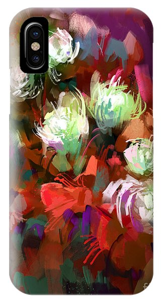 Present iPhone Case - Bouquet Of Colorful Flowers,digital by Tithi Luadthong