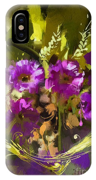 Violet iPhone Case - Bouquet Of Purple Flowers,digital by Tithi Luadthong