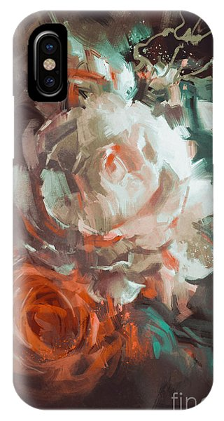 Floral iPhone X Case - Bouquet Of Roses With Oil Painting by Tithi Luadthong