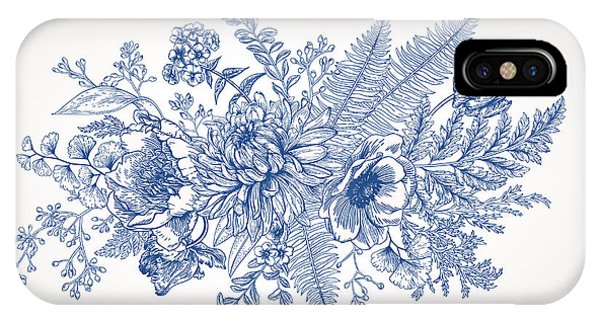 Peony iPhone Case - Bouquet With A Vintage Garden With by Lisla