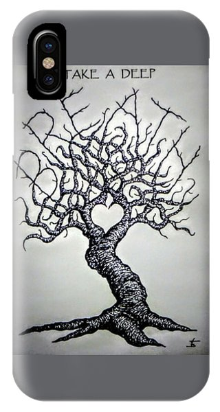 IPhone Case featuring the drawing Breathe Love Tree - Blk/wht by Aaron Bombalicki