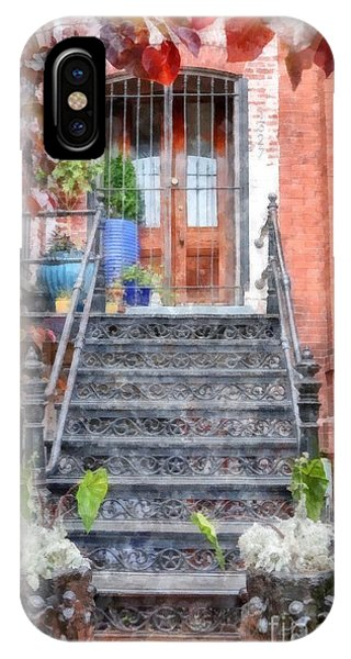 Brownstone iPhone Case - Brick Townhouse Walkup Watercolor by Edward Fielding