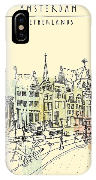Sketch Pen iPhone Case - Bridge In Amsterdam, Holland by Babayuka