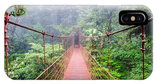 Central America iPhone Case - Bridge In Rainforest - Costa Rica - by Simon Dannhauer