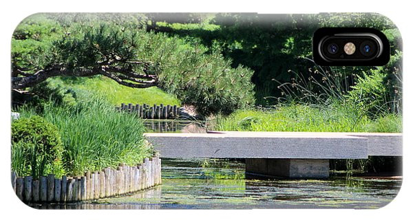Bridge Over Pond In Japanese Garden IPhone Case