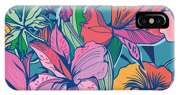 Floral Arrangement iPhone Case - Bright Abstract Wallpaper Seamless by Marushabelle