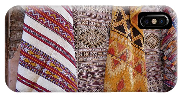 Bright Colored Patterns On Throw Rugs In The Medina Bazaar  IPhone Case